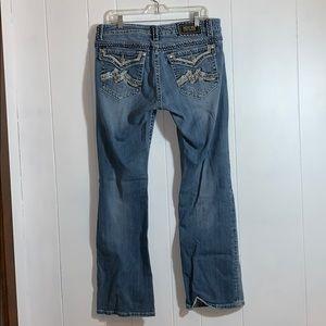 Miss Me full length boot cut blue jeans